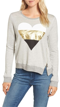 Sundry Grey Heart Sweatshirt