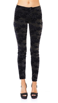J Brand Black & Olive Camo Mid Rise Supper Skinny Leg Pants