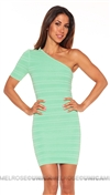 Torn by Ronny Kobo Mint Kat Ottoman Textured One Sleeve Mini Dress