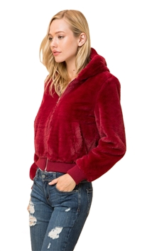Love Tree Wine Super Soft Furry Zip Up Hooded Jacket