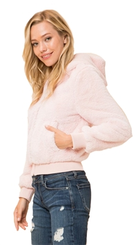 Love Tree Pink Super Soft Furry Zip Up Hooded Jacket
