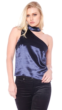Olivaceous Navy Satin Choker Top
