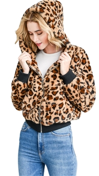 Love Tree Pink Leopard Print Faux Fur Jacket