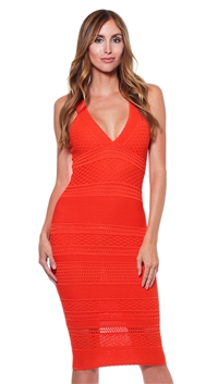 Torn by Ronny Kobo Orange Camilla York Knit Cocktail Dress