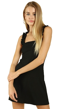 Wild Honey Black Ruched Strap Dress