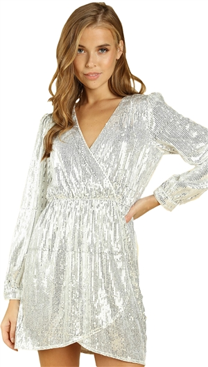Wild Honey Sequin Cross Over Dress