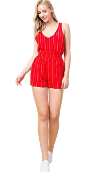 Honey Punch Striped Romper With Crossed Back Straps