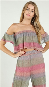 Wild Honey Stripped Shimmer Off Shoulder Crop Top