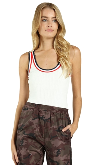 Wild Honey Sleeveless Bodysuit with Athletic Striping