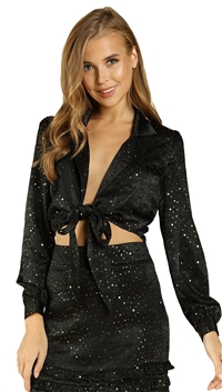 Wild Honey Satin Blazer with Front Tie