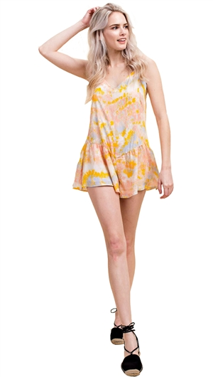 Honey Punch Yellow Printed Spaghetti Strap Romper