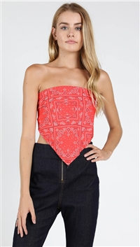 Wild Honey Strapless Bandana Top