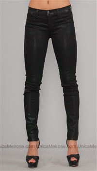 J Brand Black Low Rise Waxed Jean