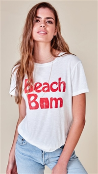 Mate The Label White 'Beau Crew' Beach Bum Top
