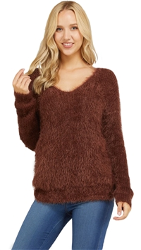Love Tree Cocoa Low Twist Knotted Fuzzy Sweater Top