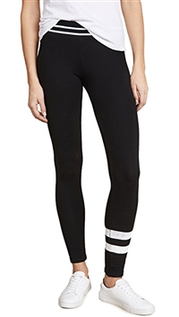 Sundry Black 'Stripes' Ribbed Yoga Pant