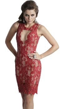 Baccio Couture Red 'Adriana' Caviar Hand Painted Mini Dress