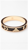 House of Harlow 14kt Yellow Gold Plated Aztec Bangle with Black Leather