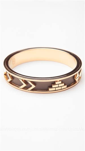 House of Harlow 14kt Yellow Gold Plated Aztec Bangle with Khaki Leather