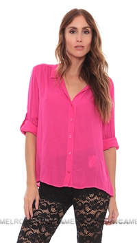 Bella Dahl Fuschia Split Back Button Up