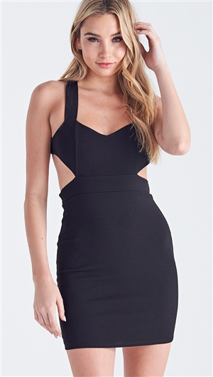 Unica Exclusive Waist Cut Black Bodycon Dress