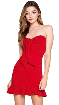 Unica Exclusive Red Strapless Knot Dress