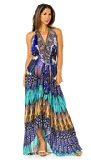 Parides Blue Jay Feather Print 3 Way Dress