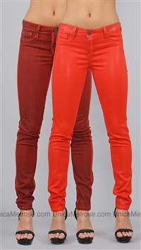 Bleulab Orange Leather Coating Devore Reversible Skinny Leggings
