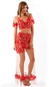 For Love & Lemons Red Luau Maxi Skirt