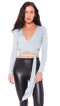 Blue Blush Dusty Blue Crop Top With Waist Tie