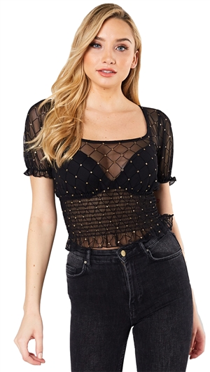 Unica Exclusive Mesh Gold Glitter Top