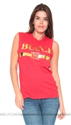 Brian Lichtenberg Red Bucci Muscle Tee with Gold Foil, Authentic Brian Lichtenberg, Made in the U.S.A.