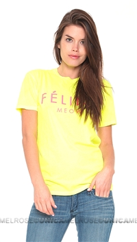 Brian Lichtenberg Feline Neon Yellow Tee in Hot Pink