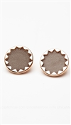House of Harlow 14 kt Gold Plated Sunburst Button Earrings with Khaki Leather