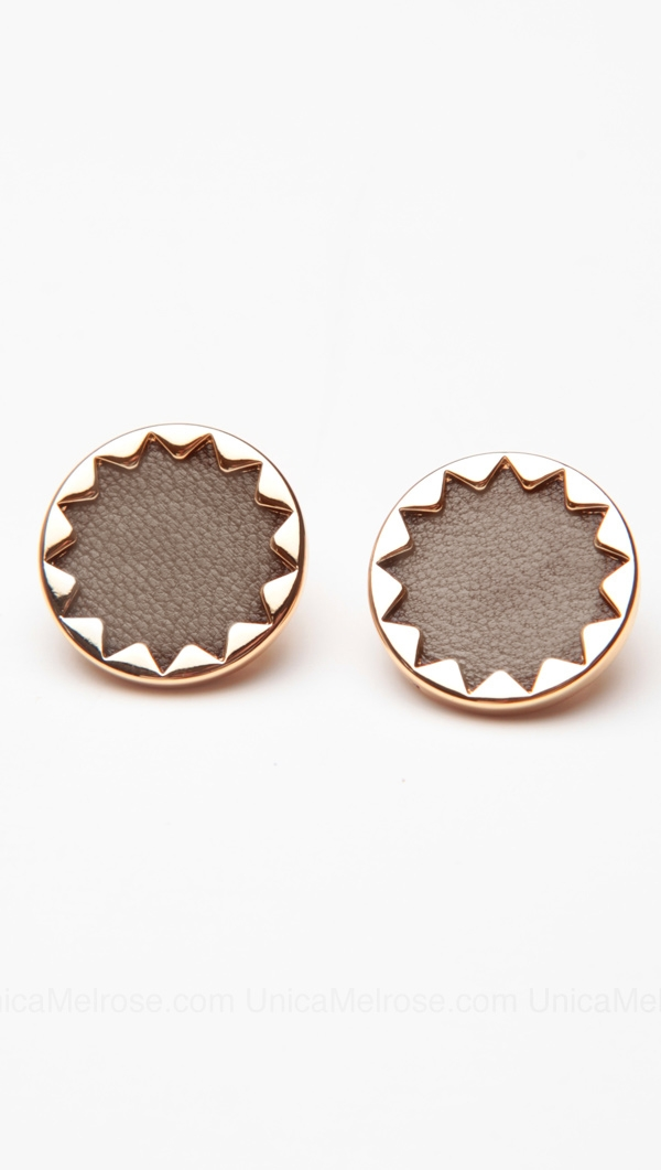 House Of Harlow 14 Kt Gold Plated Sunburst On Earrings With Khaki Leather