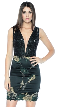Julian Joyce by Mandalay Black Sequin Banded Cocktail Dress
