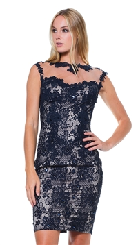 Julian Joyce by Mandalay Navy & Nude Woven Cocktail Dress