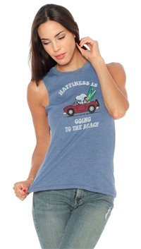 Daydreamer Blue 'Peanuts' Cut Off Shirt