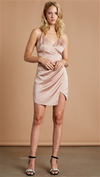 Cotton Candy LA Satin Sable (Blush) 'No Doubt' Mini Dress
