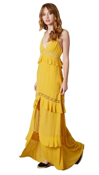 Cotton Candy LA Spaghetti Strap Hi-Lo Saffron Dress