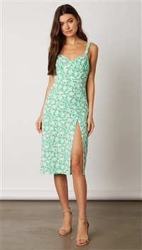 Cotton Candy Green Floral Midi Dress