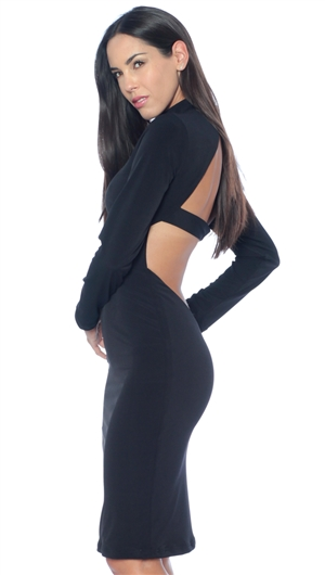 Abyss By Abby Black 'Chase' Long Sleeve Midi Dress