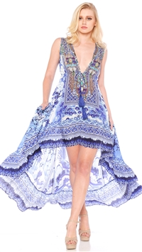 Parides Azure 'China' Hi-Low Dress