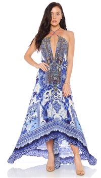 Parides Azure 'China' 3 Way To Style Long Dress