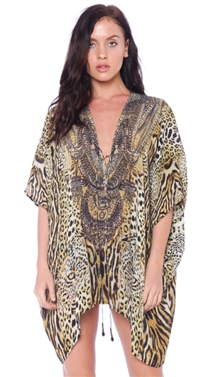 Parides Animal Print 4 Way To Style Short Kaftan