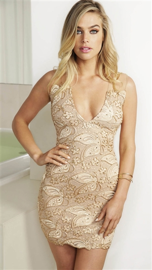 Baccio Couture Champagne 'Cindy' Caviar Hand Painted Mini Dress