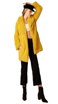 Cotton Candy LA Mustard Fur Jacket