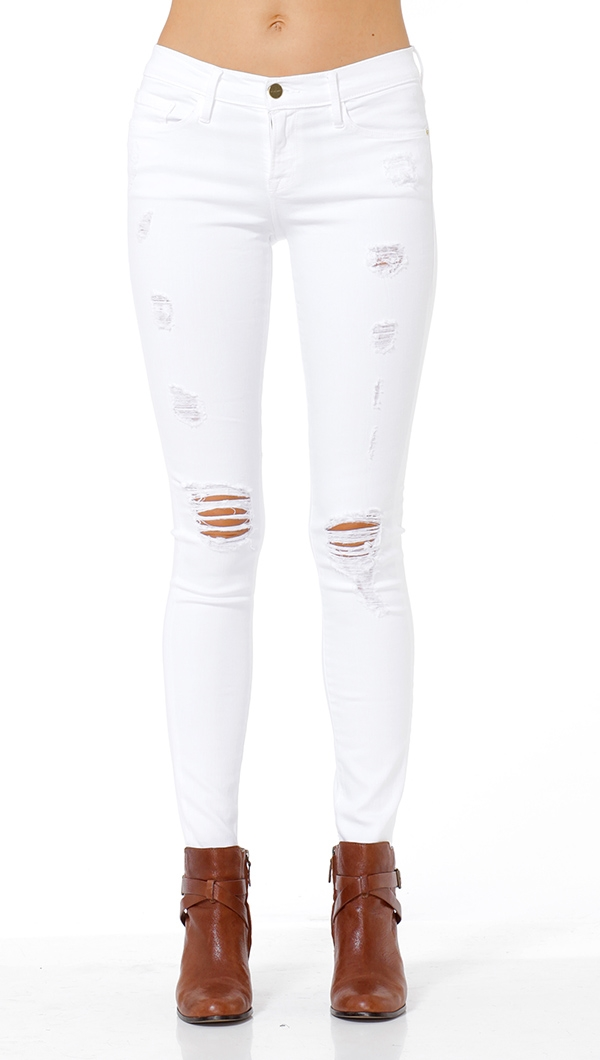 Frame Denim White Le Color Destroy Jeans