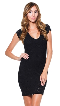 Nightcap Black Spanish Lace Deep V Cap Sleeve Mini Dress