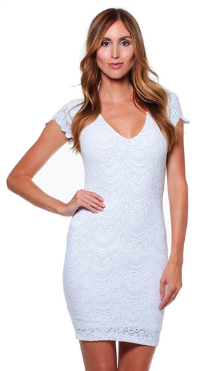 Nightcap White Spanish Lace Deep V Cap Sleeve Mini Dress